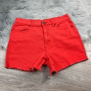 UO BDG high rise cut off shorts washed red 30